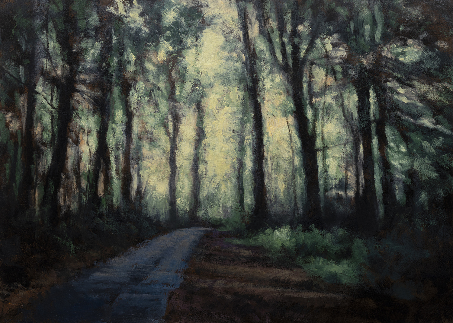 Road through the Woods by M Francis McCarthy - 5x7 Oil on Wood Panel