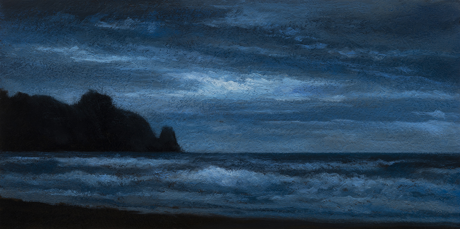 Sea Nocturne by M Francis McCarthy - 5x10 Oil on Wood Panel