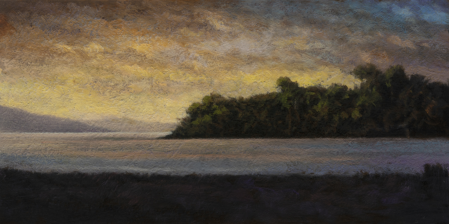 Twilight Harbor by M Francis McCarthy - 5x10 Oil on Wood Panel