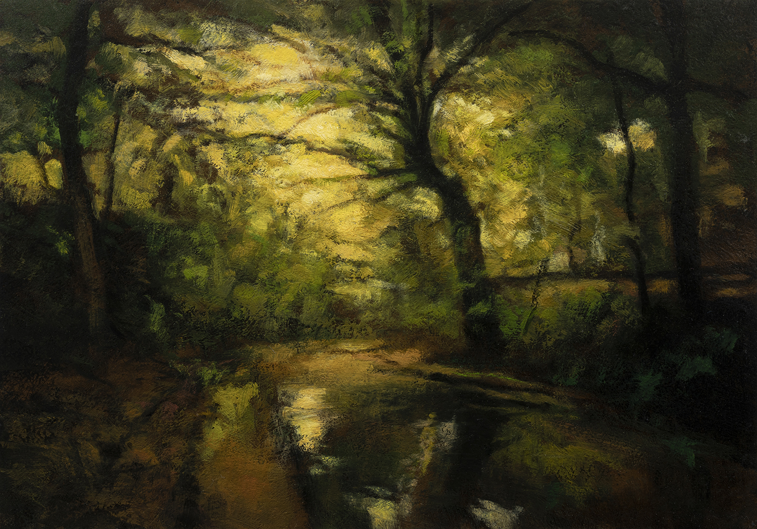Twilight Woods by M Francis McCarthy -7x10 Oil on Wood Panel