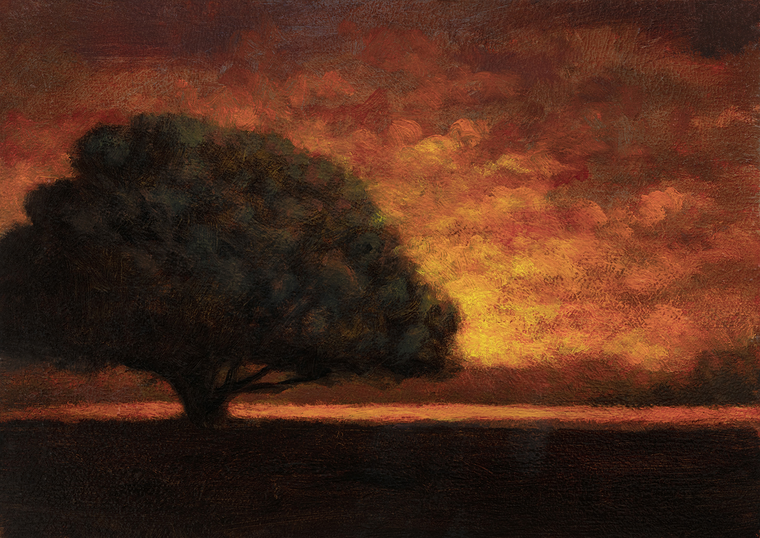 'Clearing up' by M Francis McCarthy - 5x7 Oil on Wood Panel