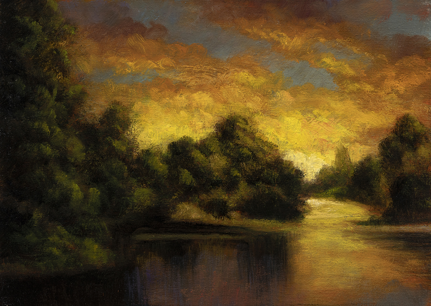 Riverside Reflections by M Francis McCarthy - 5x7 Oil on Wood Panel