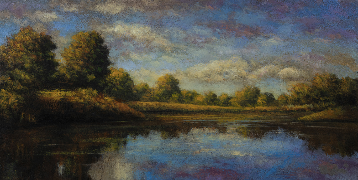 Lake Reflections by M Francis McCarthy - 8x16 Oil on Wood Panel