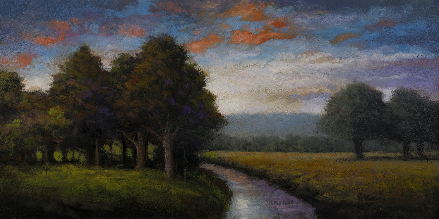 Stream through the Field by M Francis McCarthy - 5x10 Oil on Wood Panel