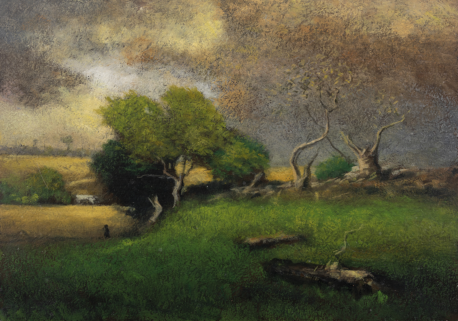 Study after George Inness The Storm by M Francis McCarthy - 5x7 Oil on Wood Panel