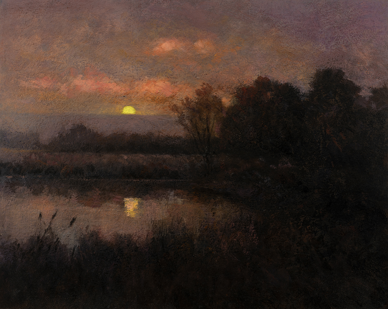 Study after: Edward Wilkins Waite An Autumn Moonrise by M Francis McCarthy - 8x10 Oil on Wood Panel