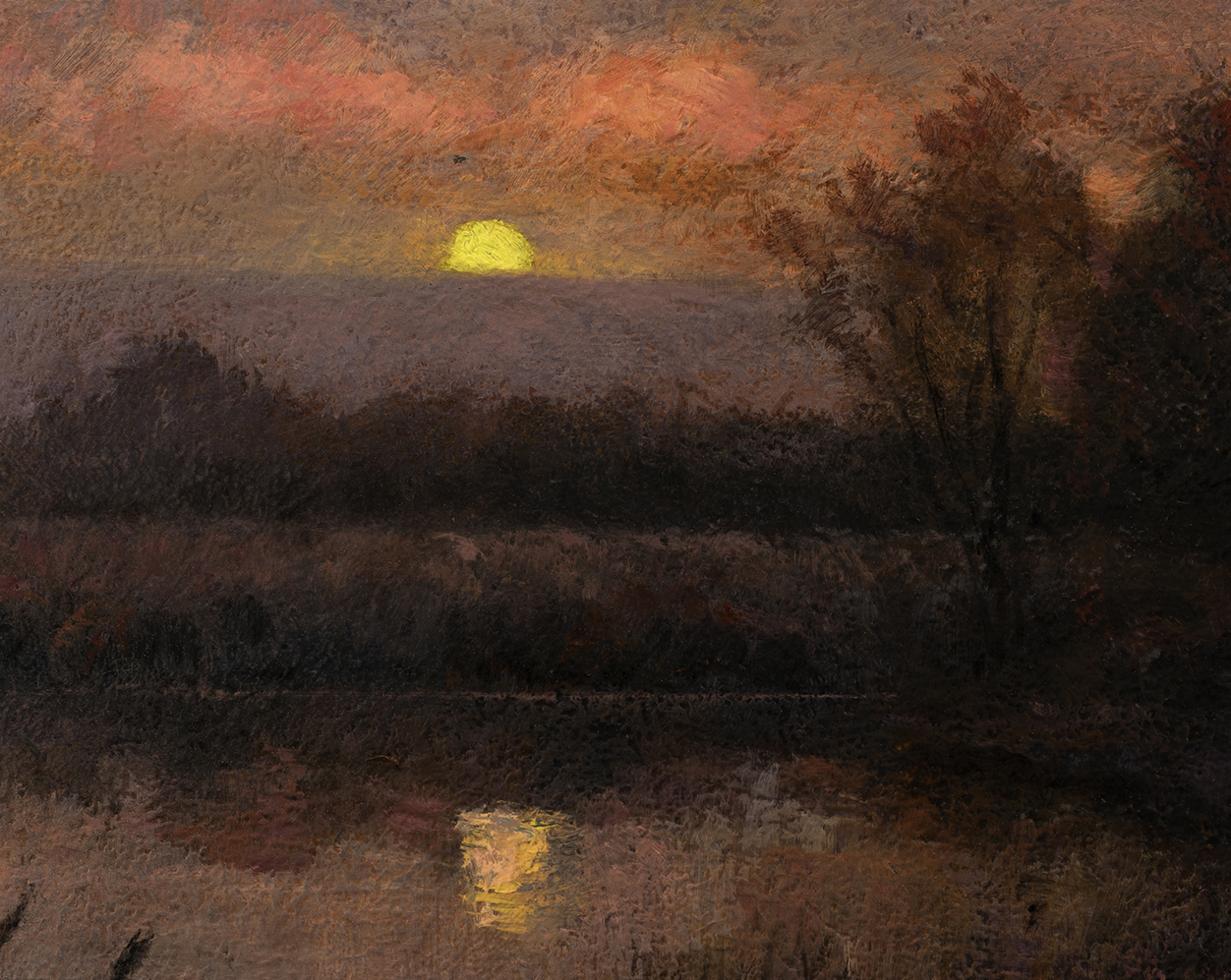 Study after: Edward Wilkins Waite An Autumn Moonrise by M Francis McCarthy - 8x10 (Detail)