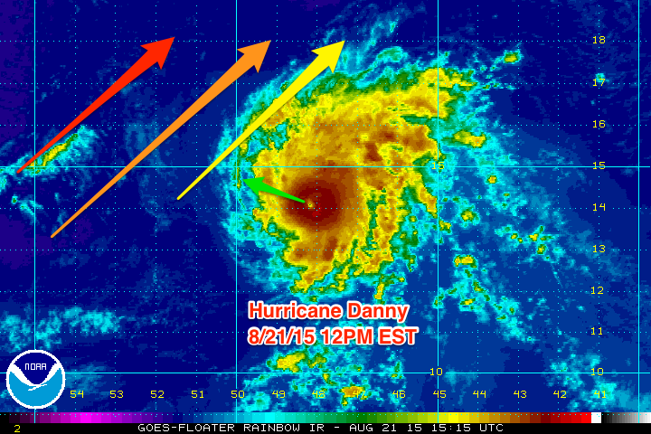 Danny is headed towards a zone of increased SW wind shear which will weaken the storm gradually as it approaches the islands.