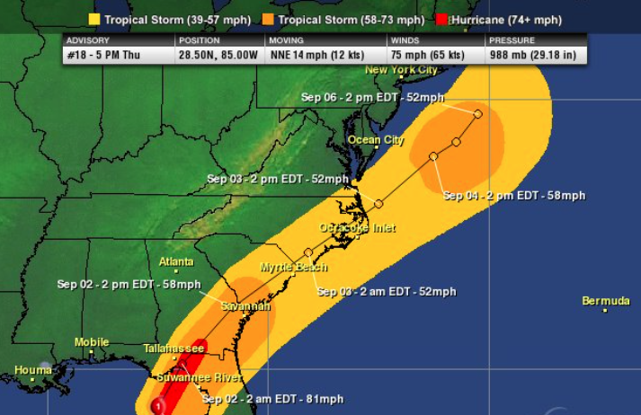 Forecasted wind swath by the NHC