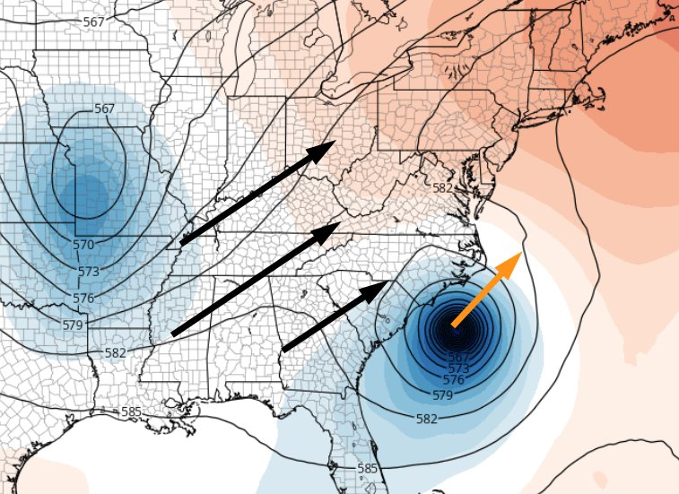 Does the forecasted trough of low pressure get to Matthew in time to turn it away from the coast? All about timing.