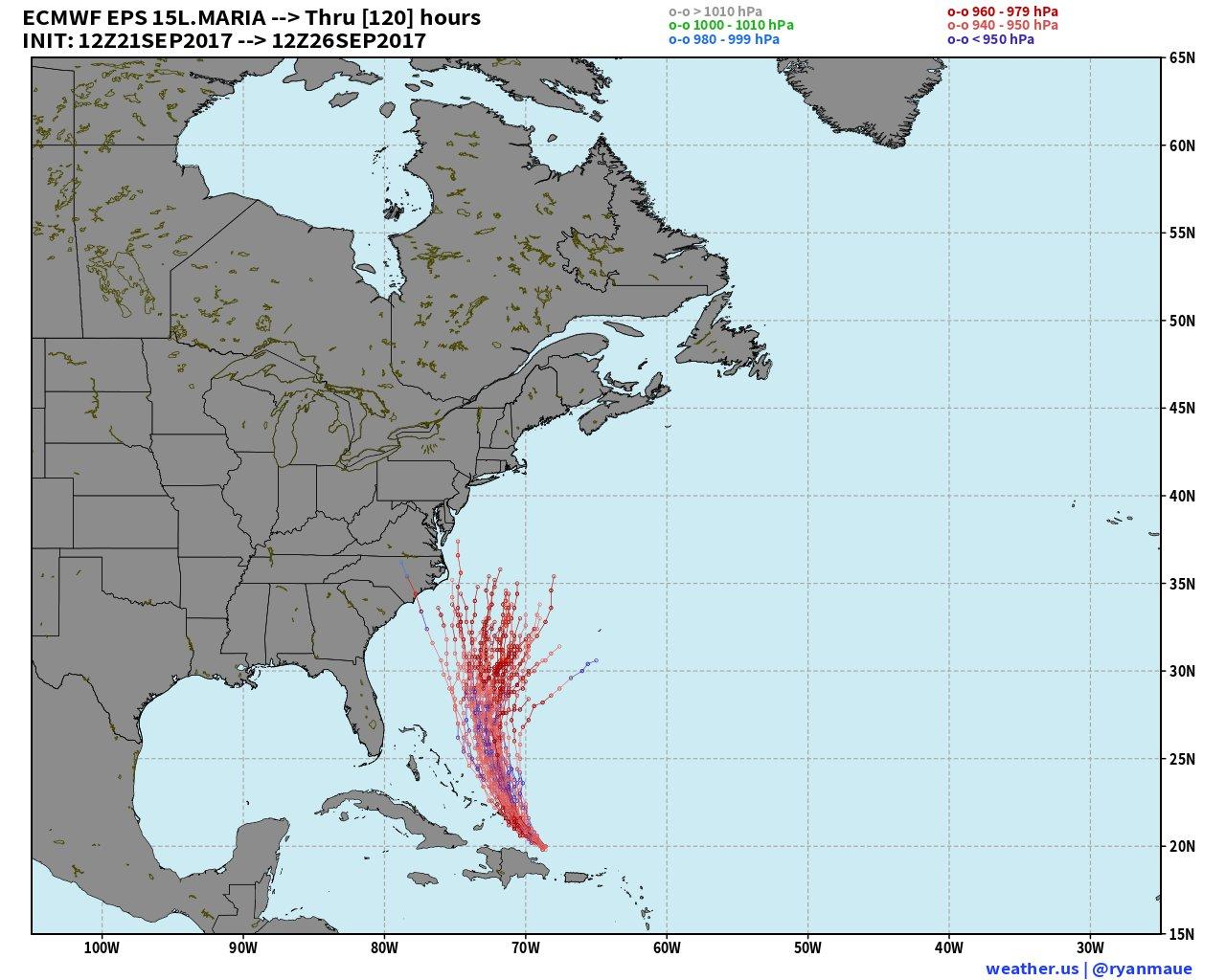 Latest European ensemble model runs only shows a few tracks towards the Mid-Atlantic