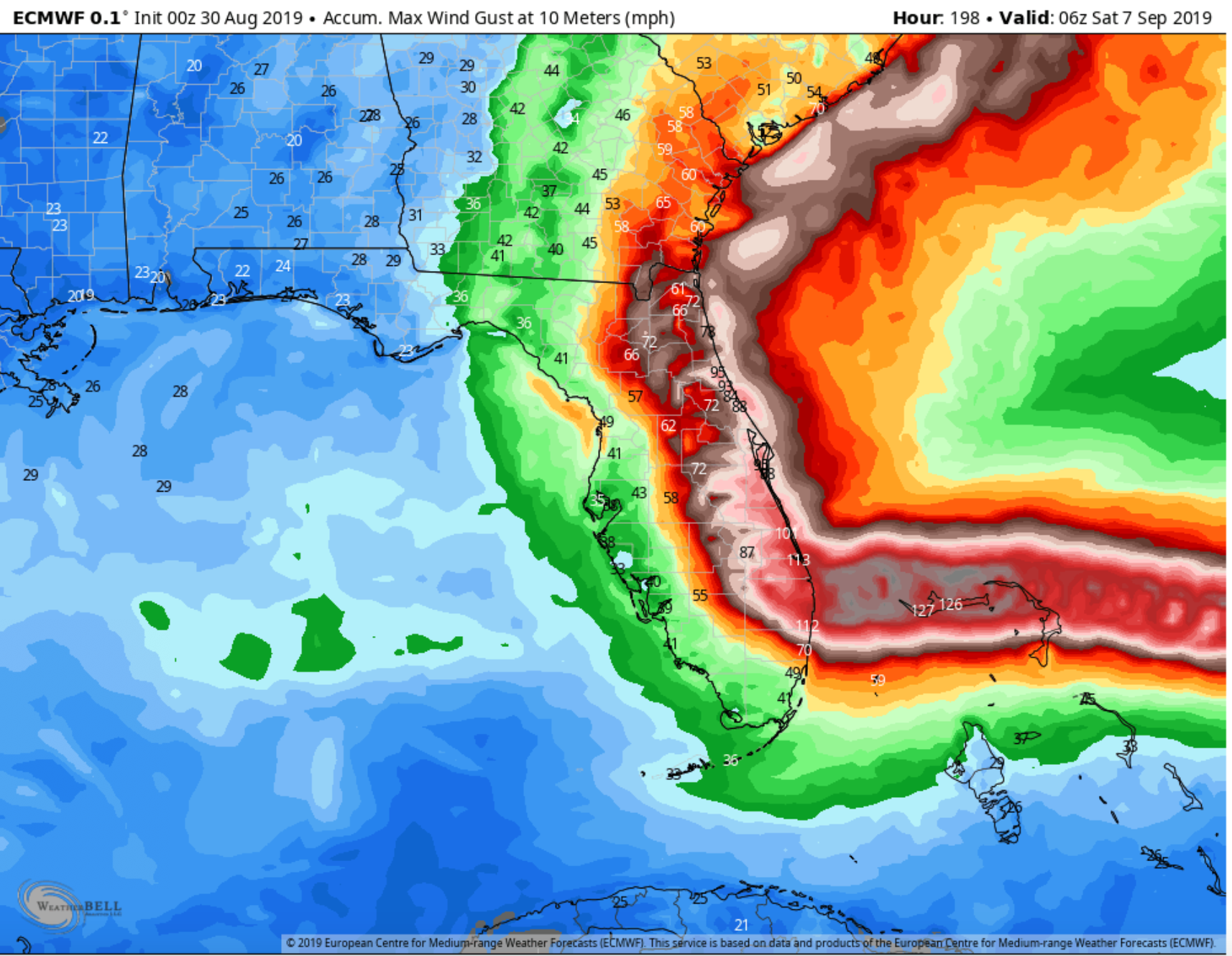 Wind gust forecast (mph) from the EURO model shows the possible scale of wind impacts.