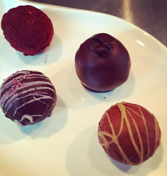 What we're making this week. 4 varieties of #chocolate #truffles. 875 of each. That's a lot of hand jive, baby! 👐🍫#lucyandethel #raspberry #espresso #chaitea #rose
