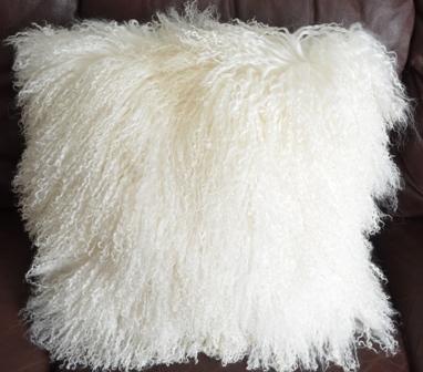 Mongolian Lamb Fur Pillow - White