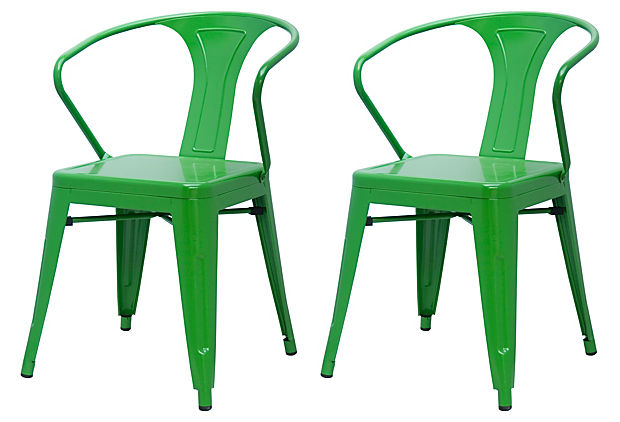 Add vivid green accents to your patio or balcony -- Pair of Green Metropolis Armchairs $169