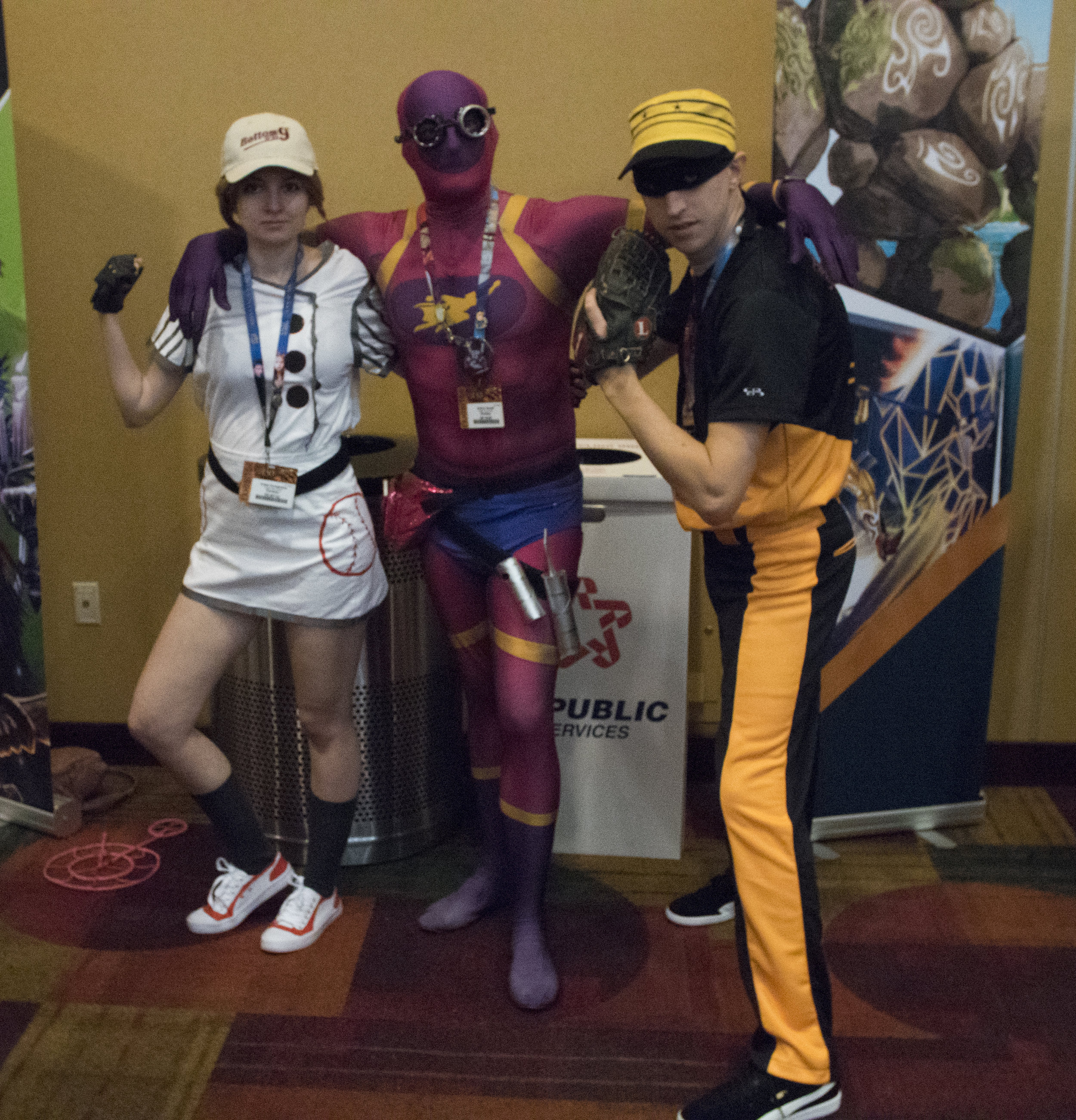 """GenCon 2017 -  Crista  as Bottom of the 9th Tachyon,  Jeremy  as """"Baron"""" Guise, and  Zach  as Bottom of the 9th Setback"""