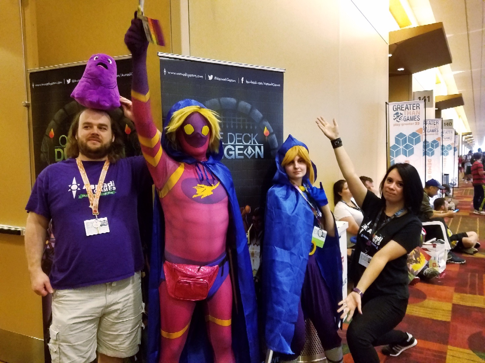GenCon 2018 - Chris Cieslik with Glooping Ooze, Jeremy as Guise as The Rogue, Crista as The Rogue, and Alanna Cervenak