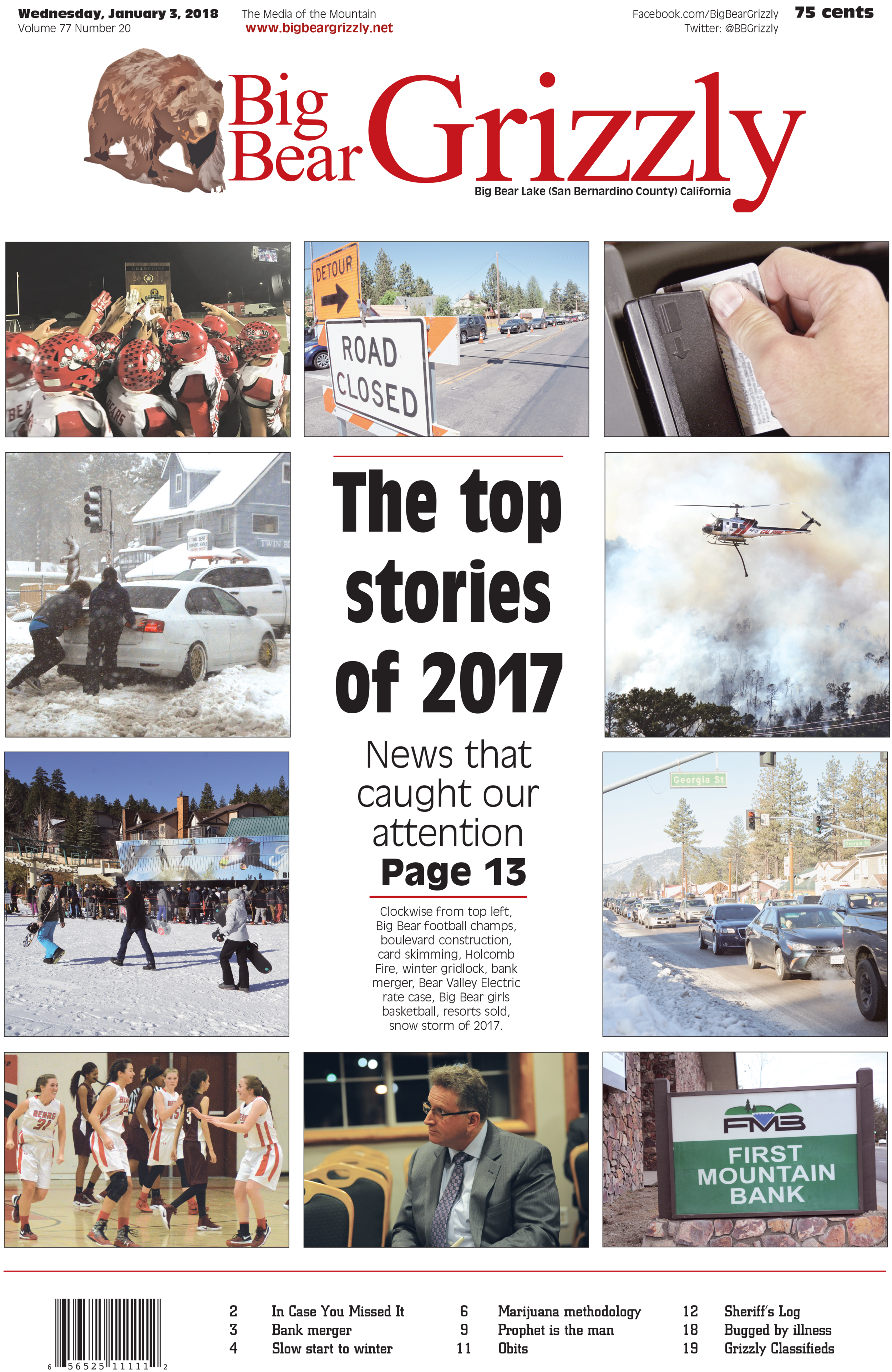 Natalie co-desinged the Jan. 3, 2018, cover of the Big Bear Grizzly with Senior Editor Kathy Portie. This edition featured a special cover with photos from the most important stories of 2017.