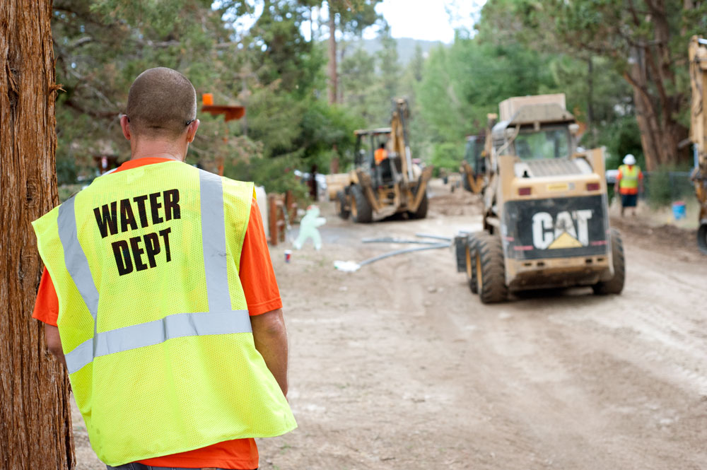 Water Department Foreman Dave Chlebik walks the construction site of the the Big Bear City Community Service District's Peter Pan Project in Big Bear City July 27, 2016. CSD replaced 7,500 linear feet of pipeline in phase one of the project.