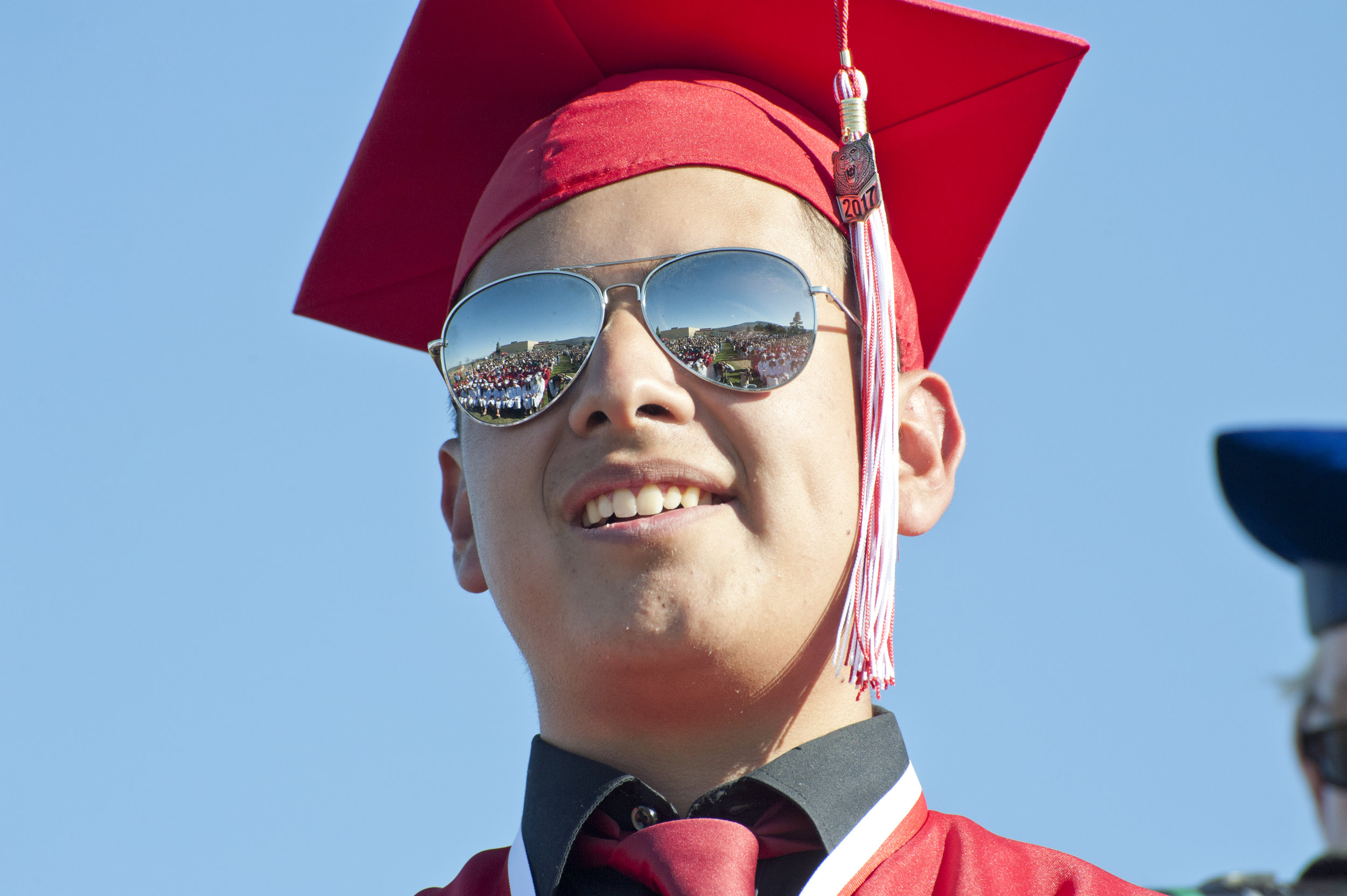Rene Anthony Granillo Jr. stares out into the crowd as he crosses the stage during the Big Bear High School graduation June 16, 2017.