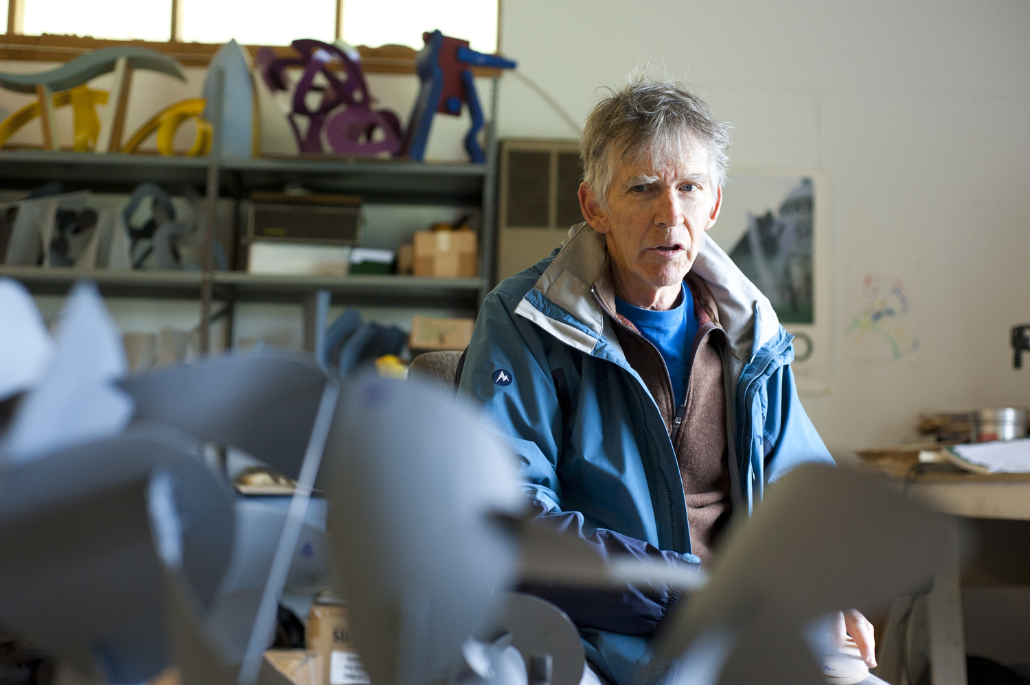 Sculptor David Stromeyer discusses his 44 years of work in his studio in Enosburg Falls, Vermont, June 6, 2014. He opened Cold Hollow Sculpture Park in the summer of 2014 and features his steel sculptures throughout acres of grassy fields.