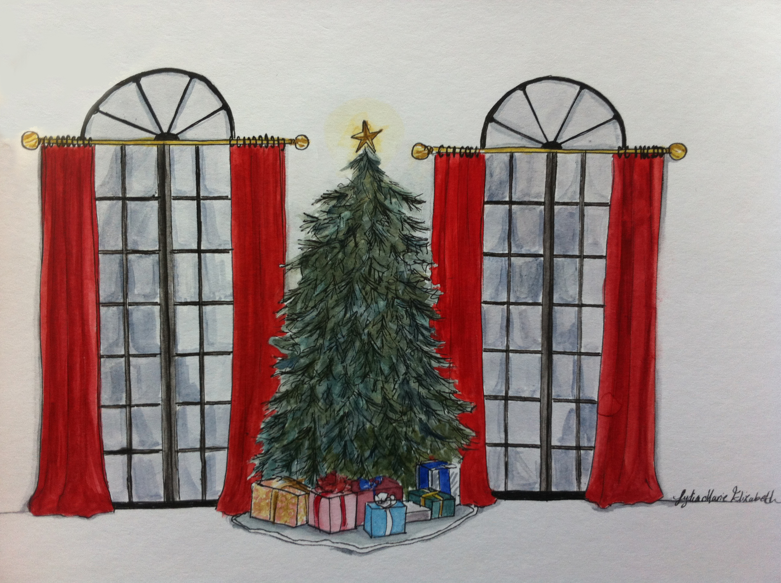 Hand rendered Interior Elevation Christmas tree watercolor christmas tree Interior Design Greenwich CT Leesburg VA.jpg