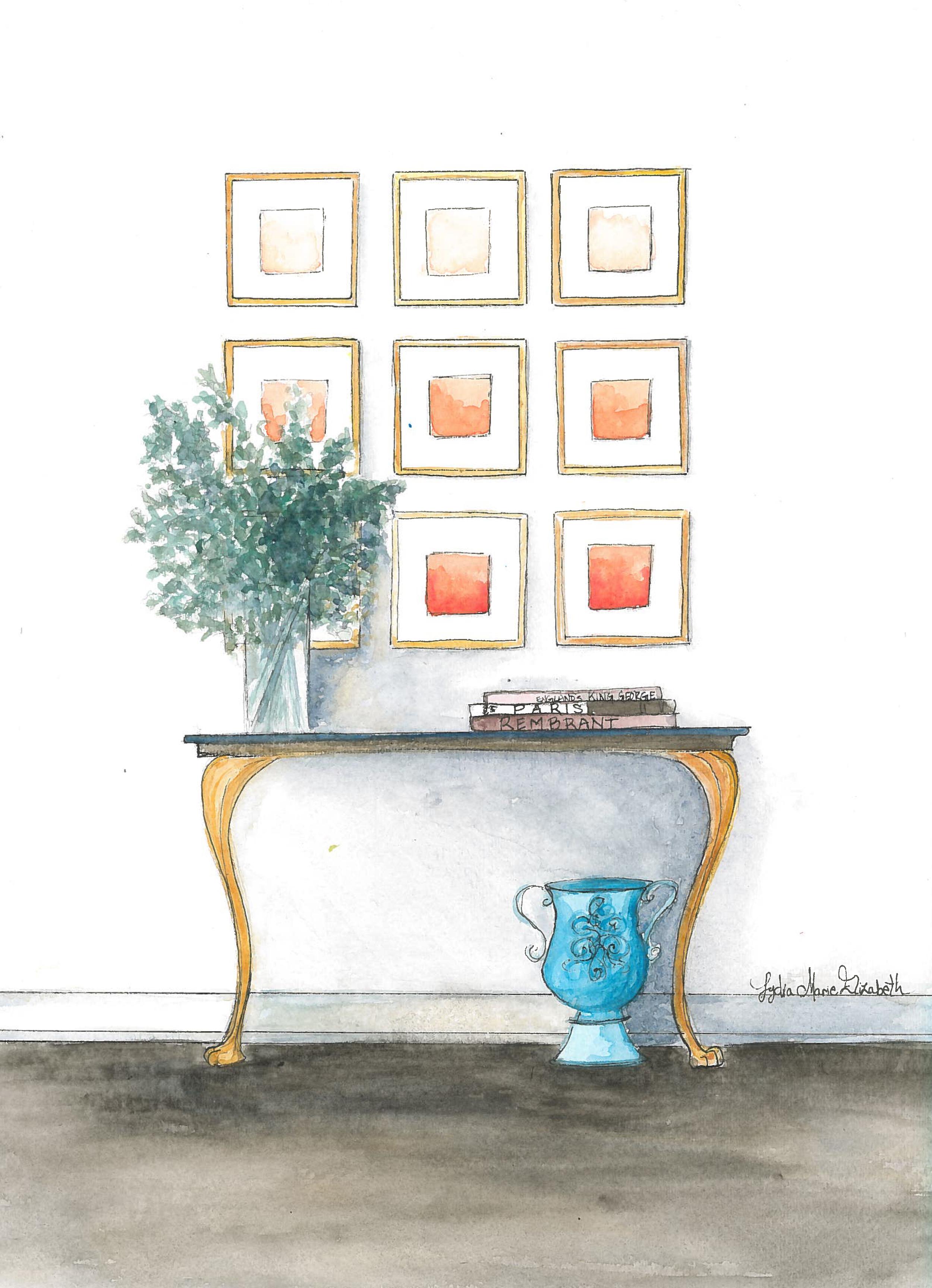 Lydia Marie Elizabeth Nine Frames and Greenery Still Life Interior.jpg