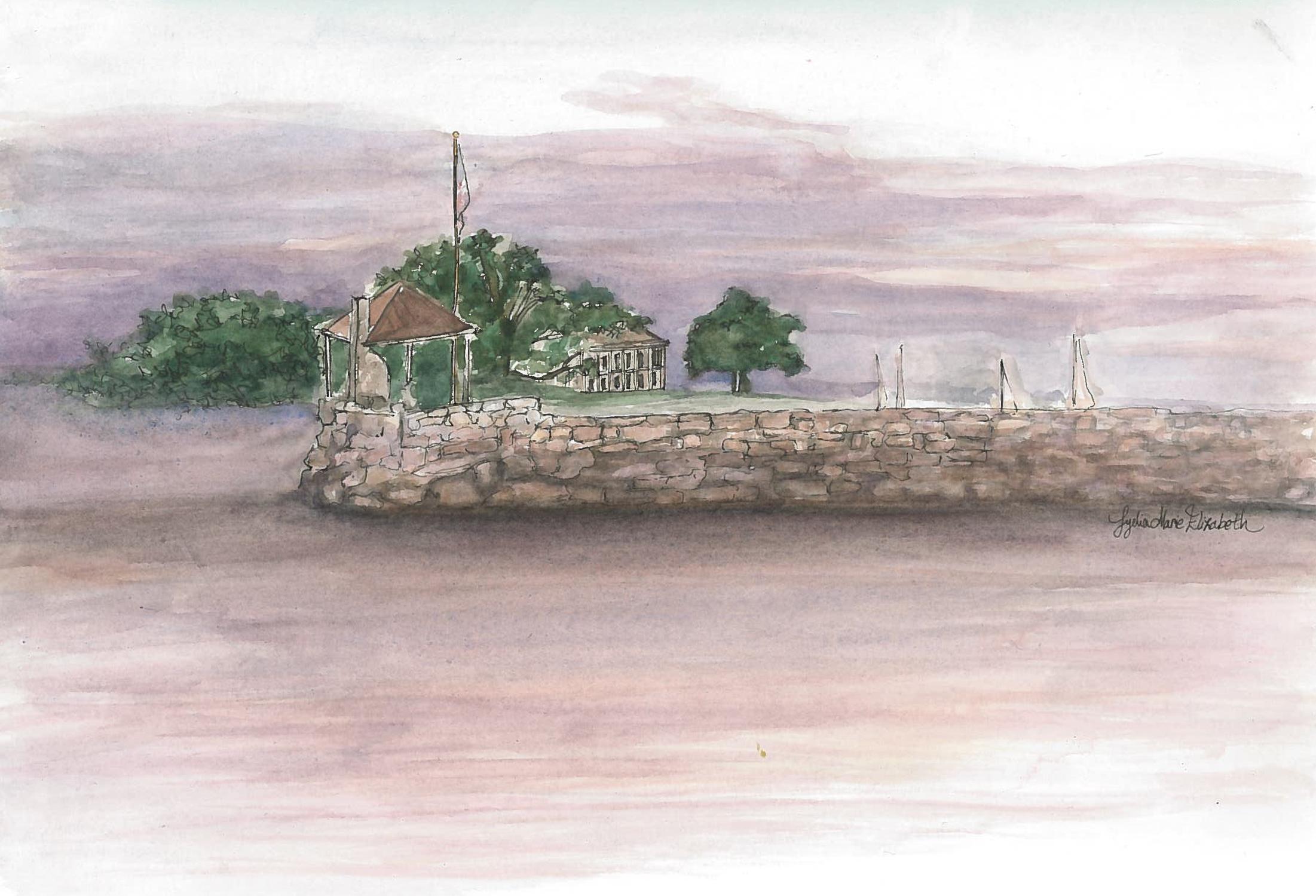 Lydia marie Elizabeth Greenwich CT Beach sunset landscape watercolor.jpg