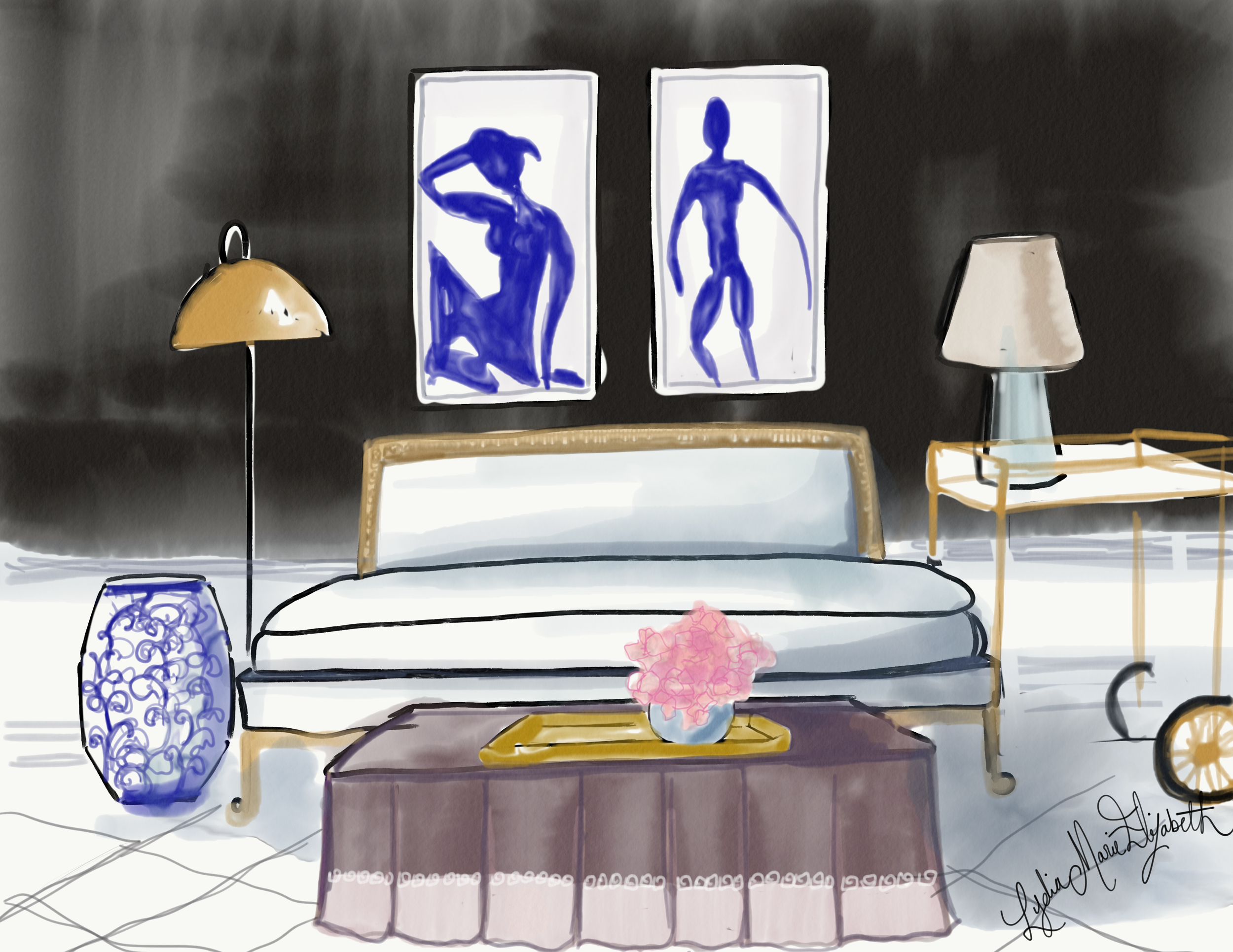 Lydia Marie Elizabeth Interior Illustration