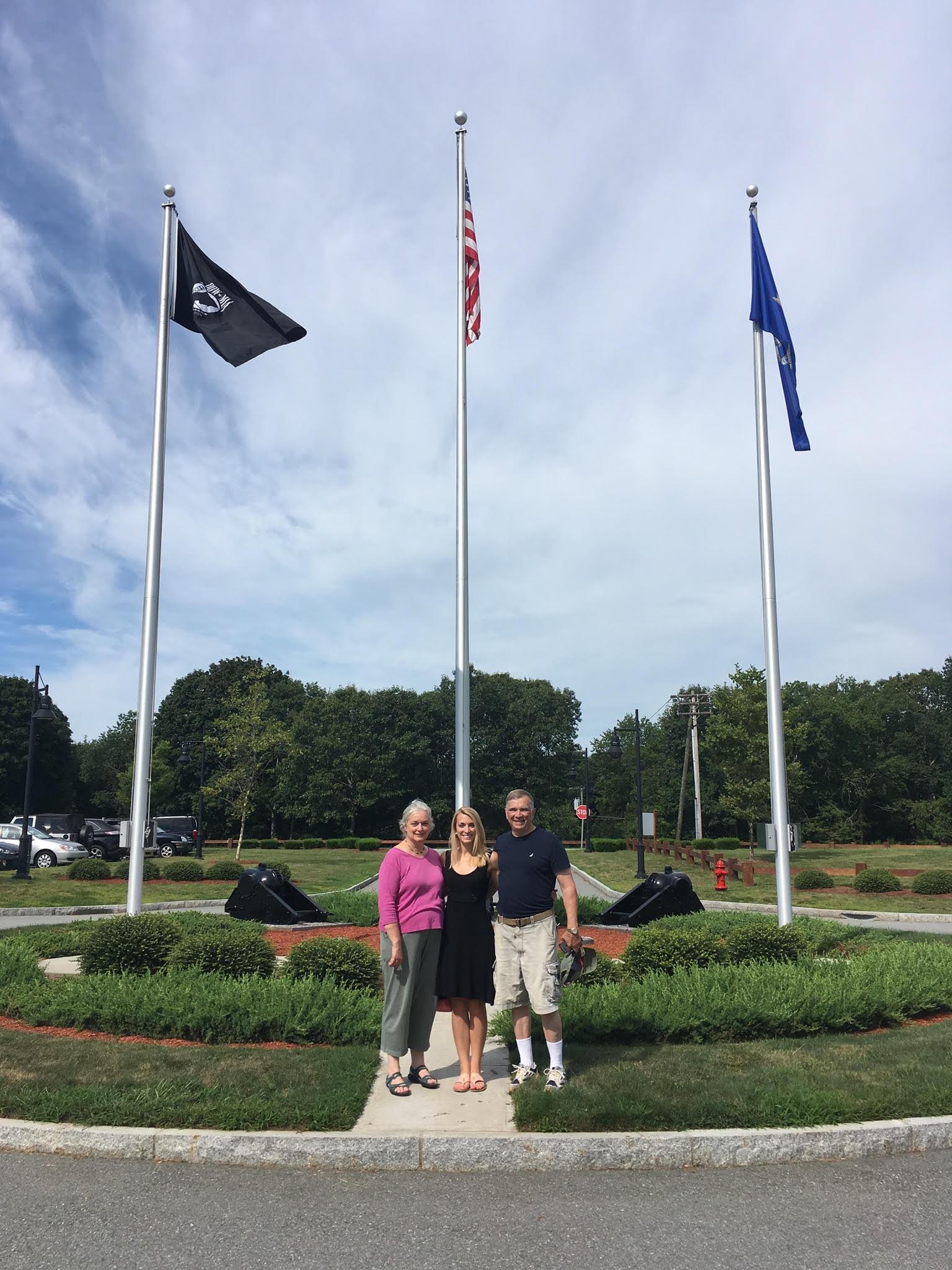 Col. David C. Smith (R) with wife, Diana and daughter Lydia Marie Elizabeth, Beonne Beronda award winner at Camp Niantic, Niantic CT..jpg