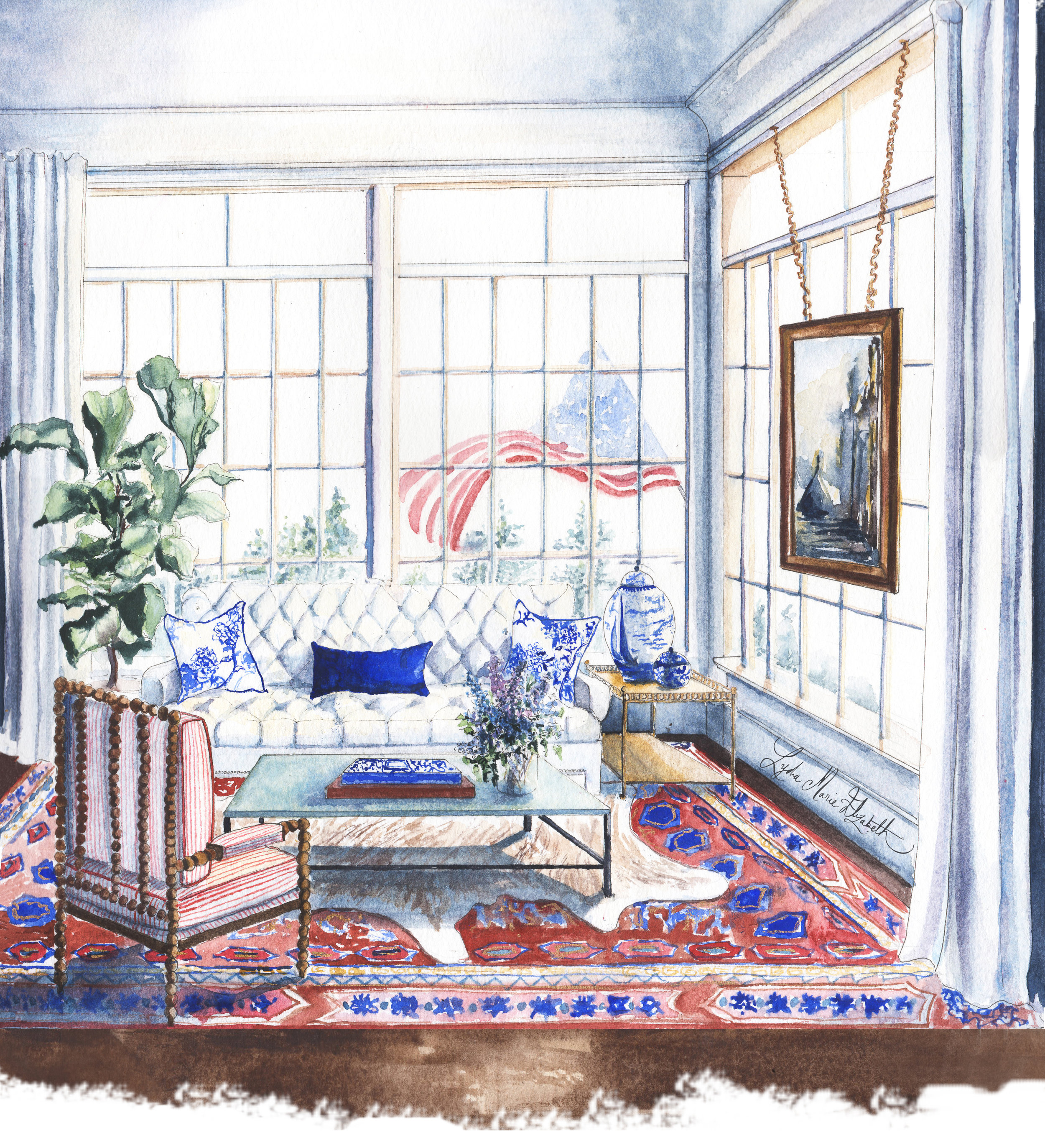 Lydia Marie Elizabeth Interior rendering with American Flag for Around the World interior and architectural calendar July illustration. Mooring House The Hampdens