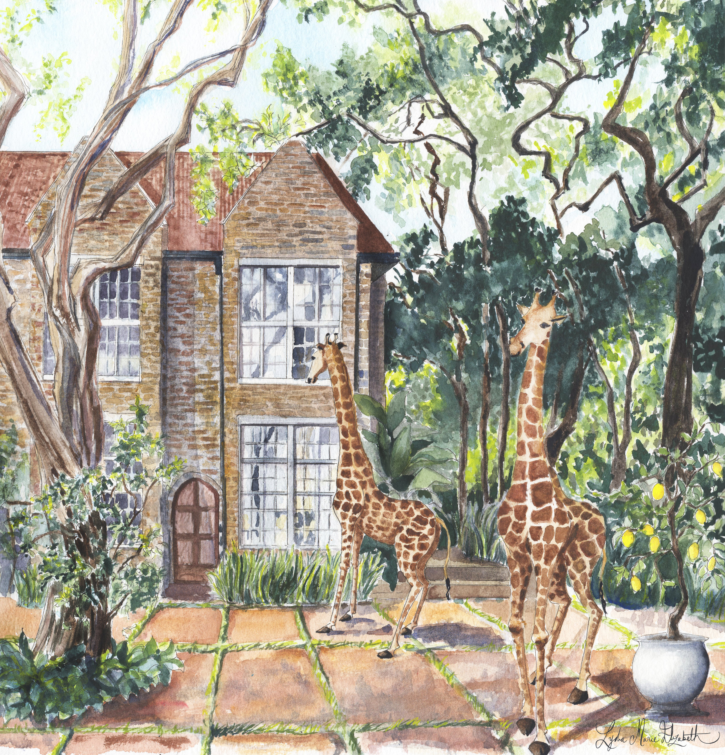 Lydia marie Elizabeth Giraffe Manor House Illustration for around the world architectural