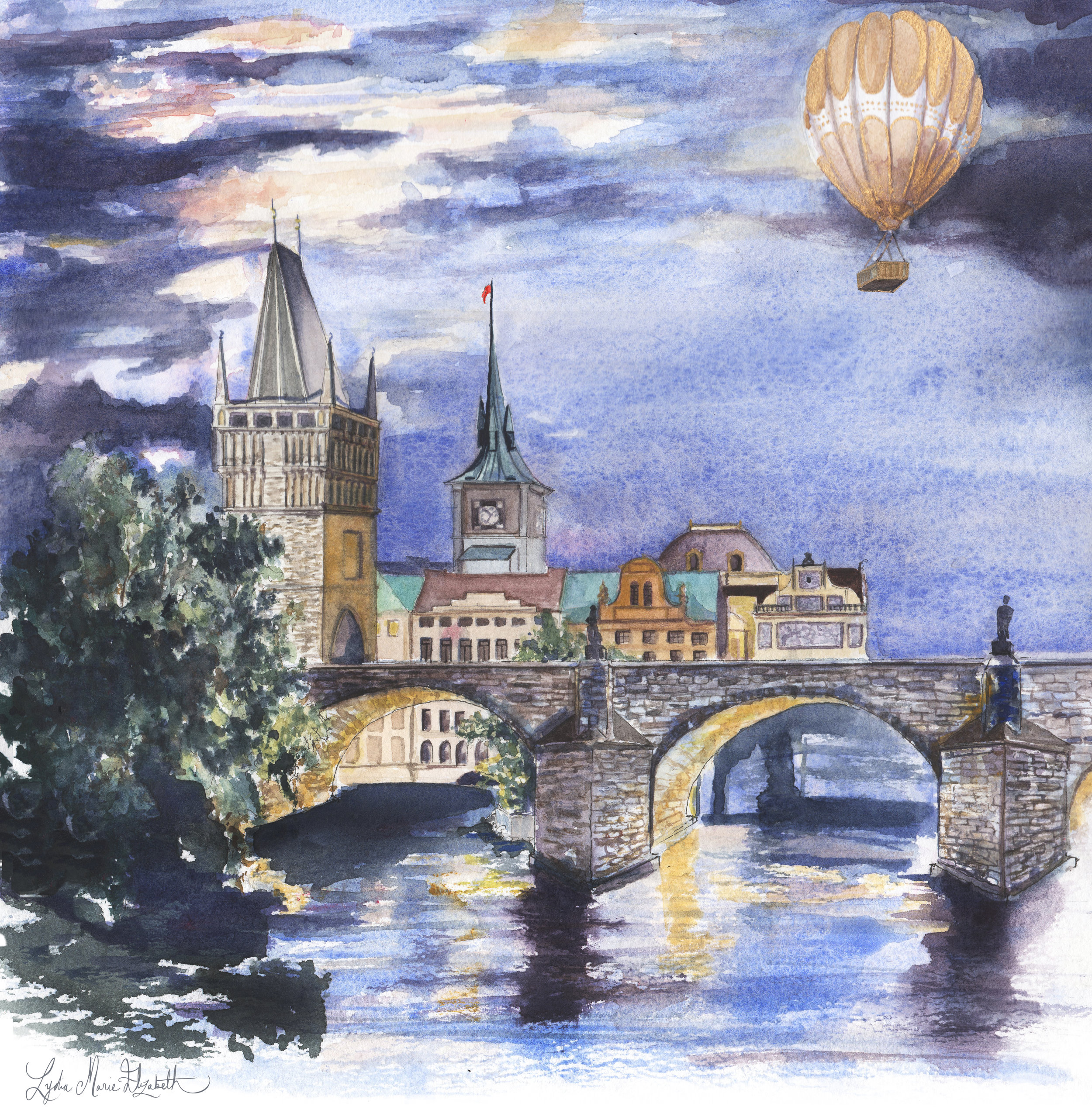 Lydia Marie Elizabeth Budapest city portrait at night with air balloon