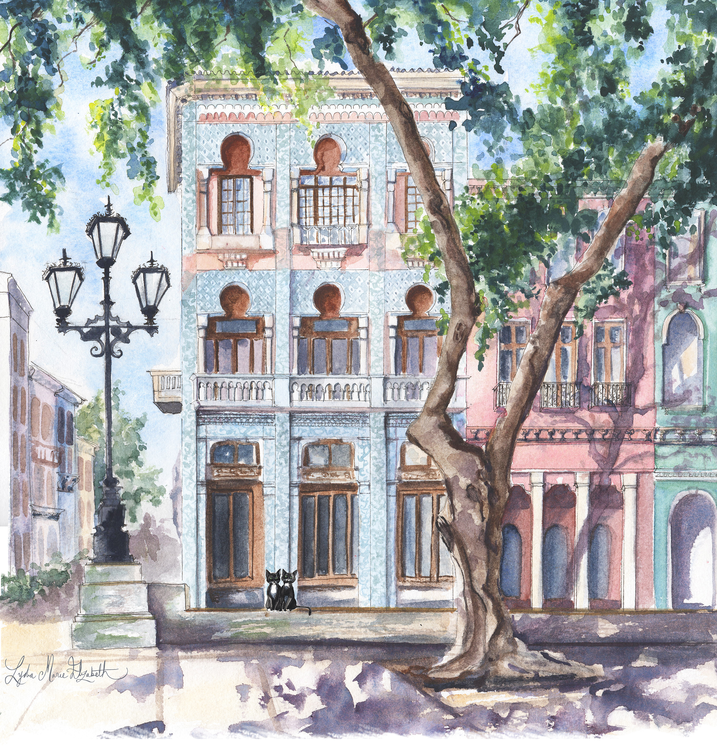 Lydia Marie Elizabeth architectural watercolor of Cuba with Lulu's cousins for the Around the world calendar 2018