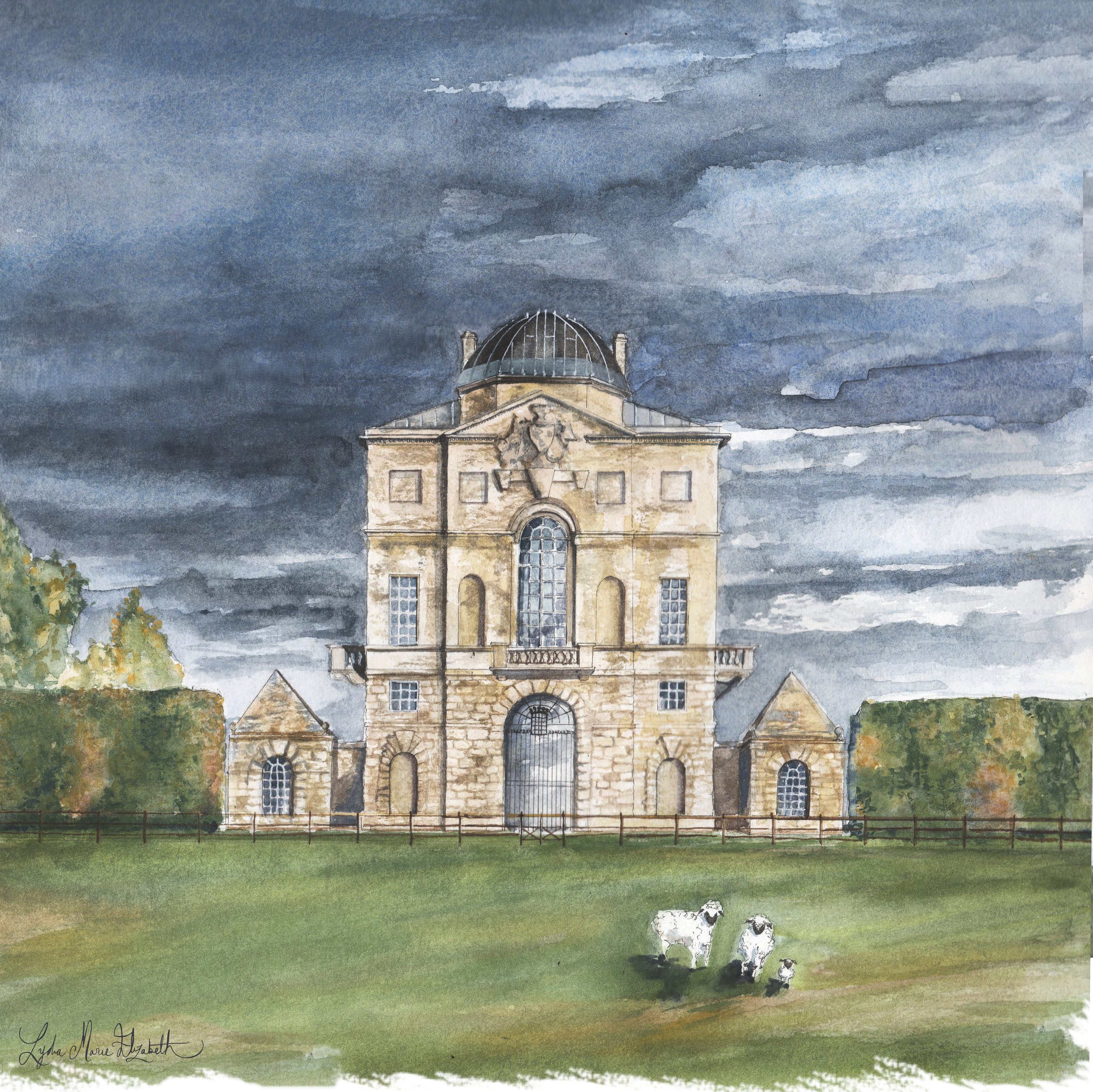 Lydia Marie Elizabeth architectural portrait of Worcester Lodge at Badminton Estate, England designed by William Kent