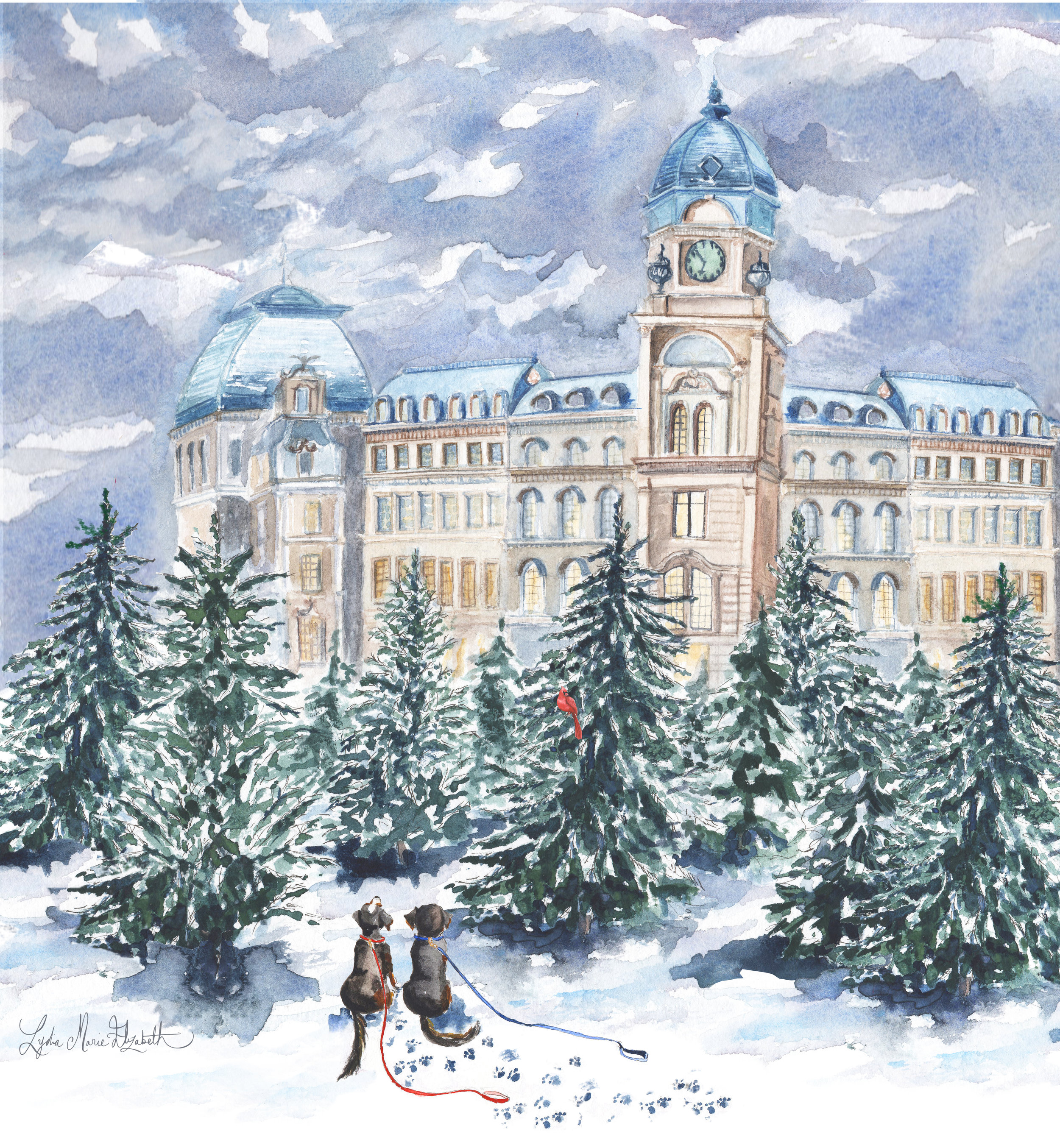 Lydia Marie Elizabeth Christmas Tree Market in Vienna 2018 2019 special edition Around the World Calendar illustrated in watercolor puppies chase cardinal