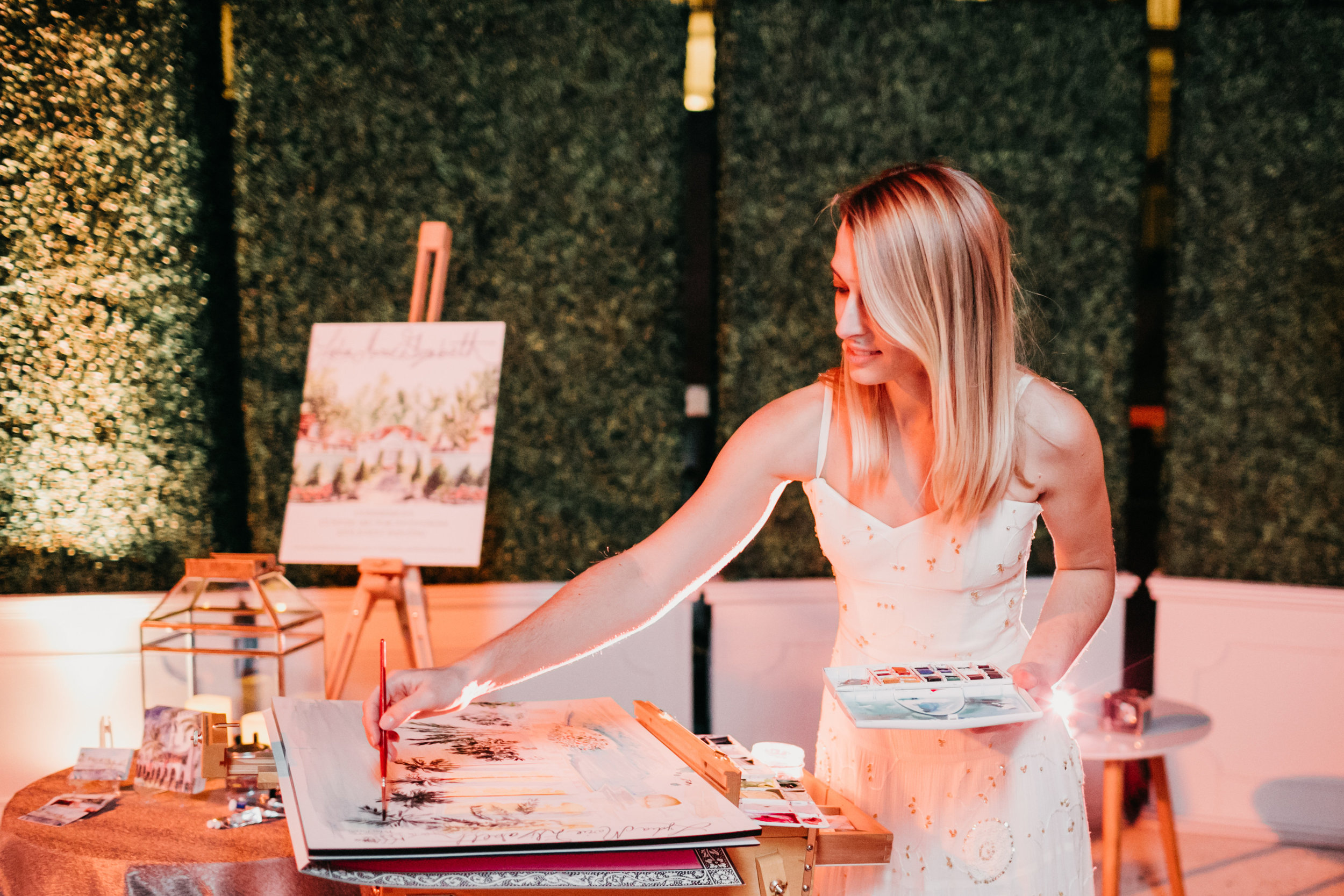 Lydia Marie Elizabeth Live Painting the Four Seasons Resort in Palm Beach for the grand reopening and launch of Party Slate