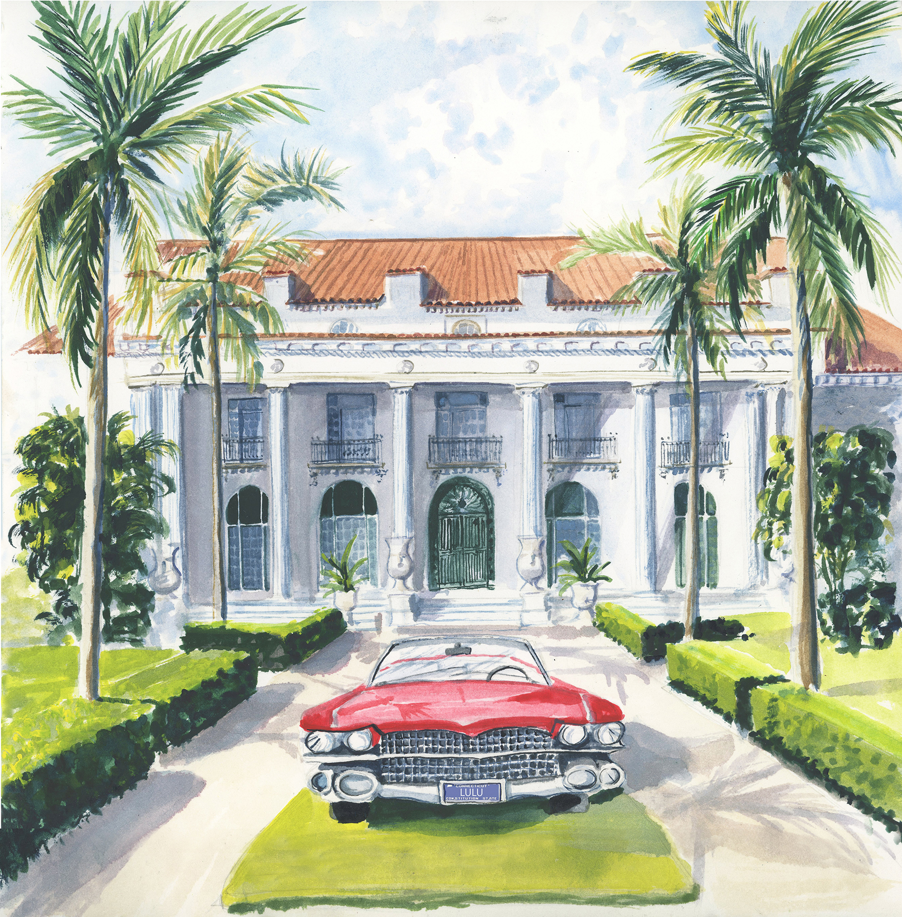 Lydia Marie Elizabeth watercolor of Flaggler Museum in Palm Beach inspired by Slim Aarons for the 2019 American Road Trip desk calendar.jpg