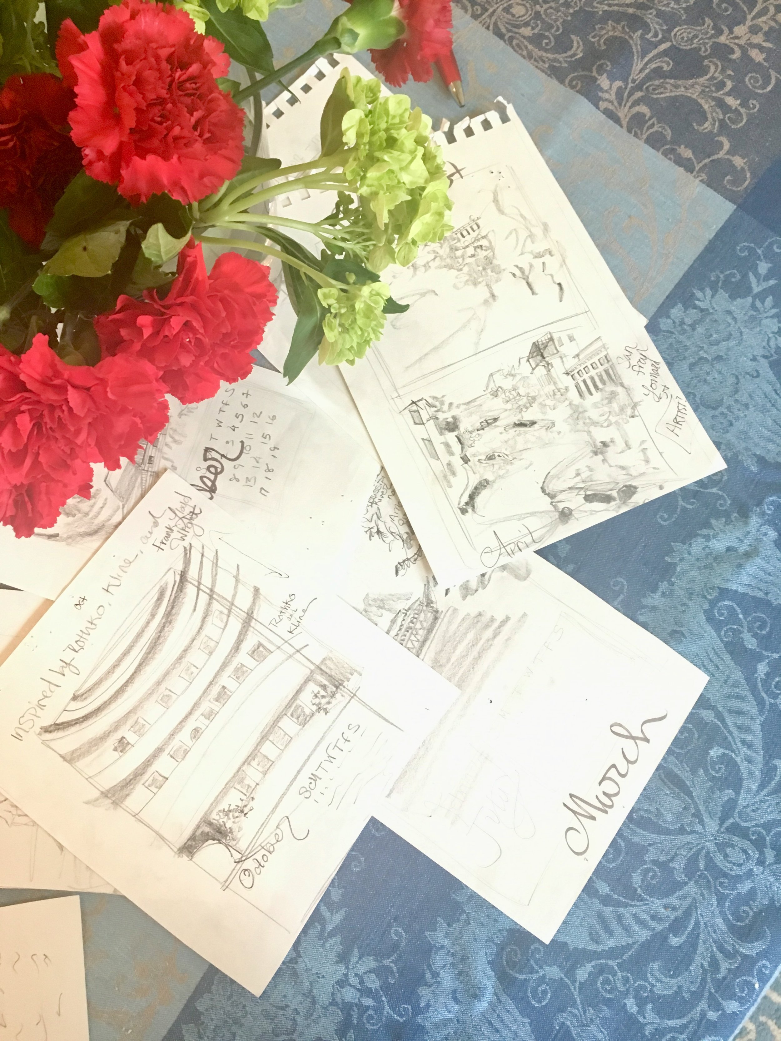 Lydia Marie Elizabeth concept sketches for the 2019 American Road Trip Calendar