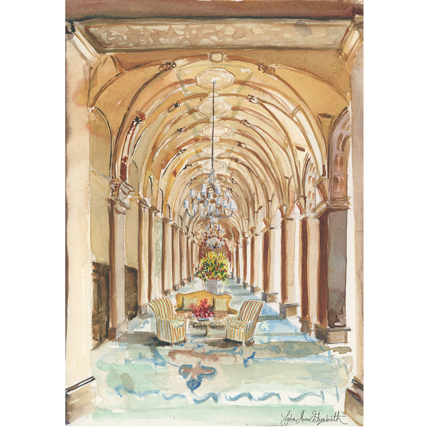 "THE BREAKERS LOBBY , 12"" x 16"""