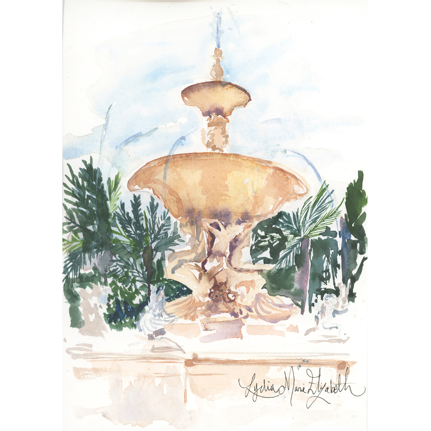 "THE FLORENTINE FOUNTAIN,  5"" x 7"""