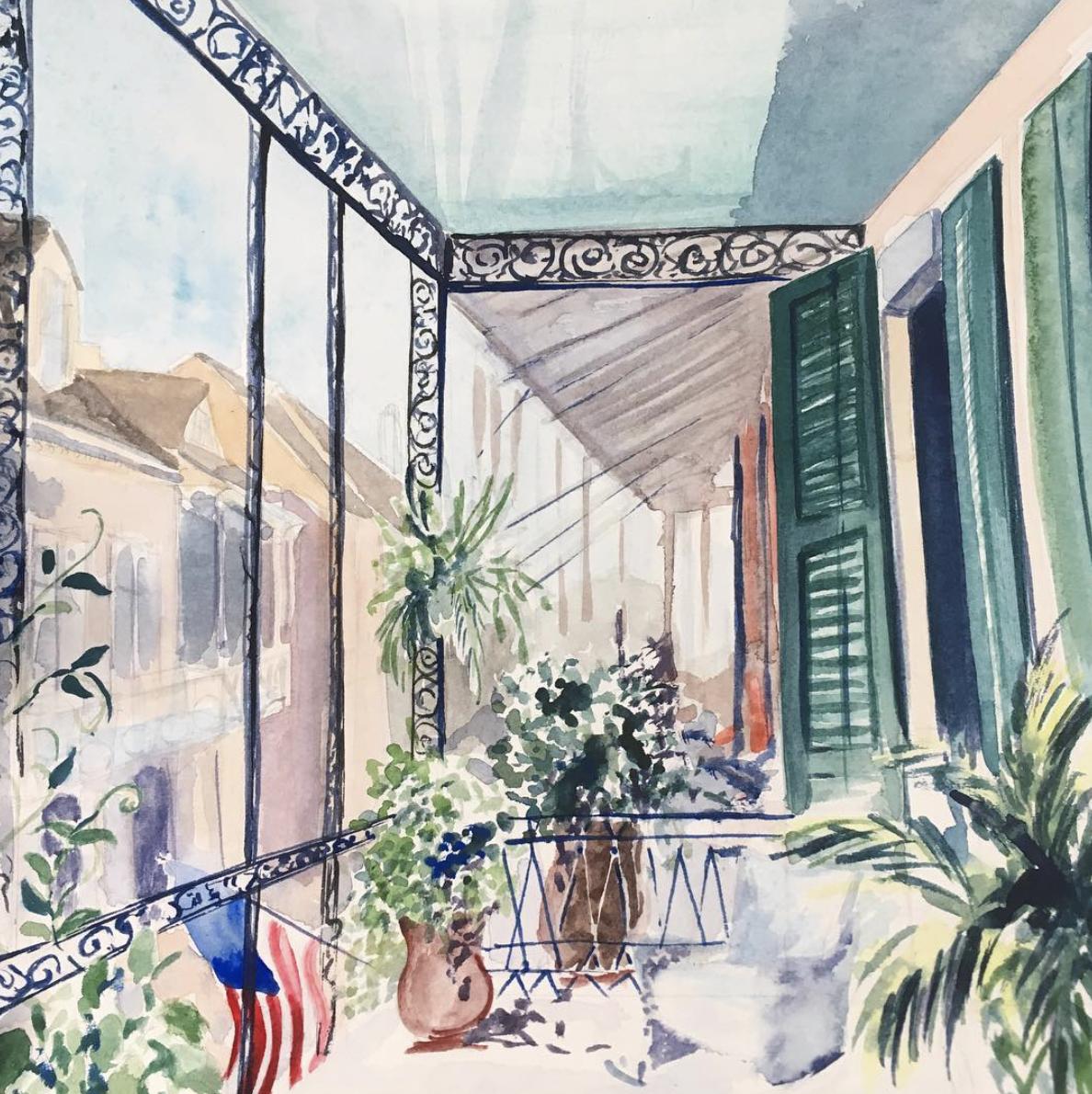 Lydia-marie-elizabeth-concept-sketch-in-watercolor-of-new-orleans-front-porch-american-road-trip-desk-calendar