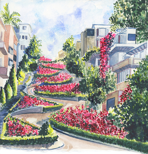 Lydia-marie-elizabeth-lombard-street-san-fran-watercolor-painting-2019-desk-calendar