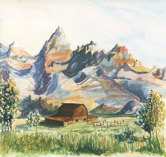 Lydia-marie-elizabeth-jackson-hole-wyoming-ta-moulton-barn-water-color-for-sale