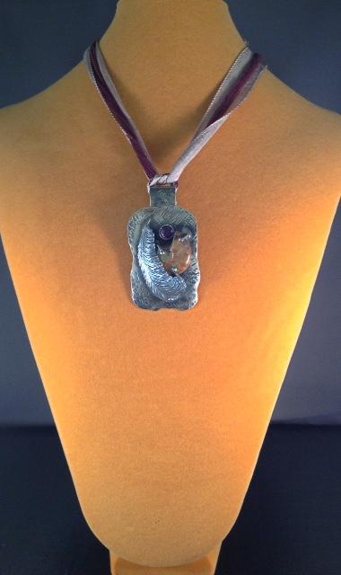 Ammonite Feather Pendant