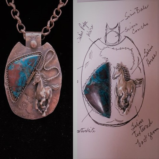 - Always interesting how these thoughts turn out. The loose stone is Shattuckite mined in Arizona; sterling silver horses are cast in France.