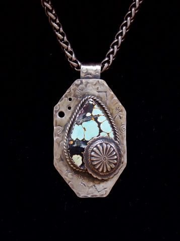 "- ""A Someday View"" pendant of sterling silver with a very unusual Hubei Turquoise shaped by master stonecutter Jason Brousseau, NM features a sterling silver concho accent."