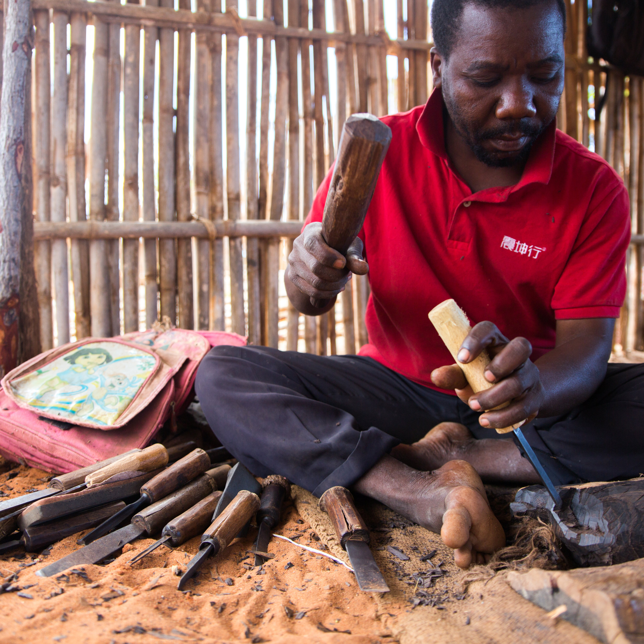 Stuart and the Mekonde Woodcarvers   At 42 years of age, Suart Hussein Madiva has been carving wood for most of his life. He was born in Muidumbe, and is one of the famous Mekonde carvers from northern Mozambique and southern Tanzania. In 1987 Stuart began studying wood carving at the Begamoyo Sculpture School in Tanzania, and a few years later was also one of their teachers. He lives close to Malucu Marruma with his wife and their four children - Monica, 25; Sofia, 14; Robinsson, 12; and Elisabeth, 6.