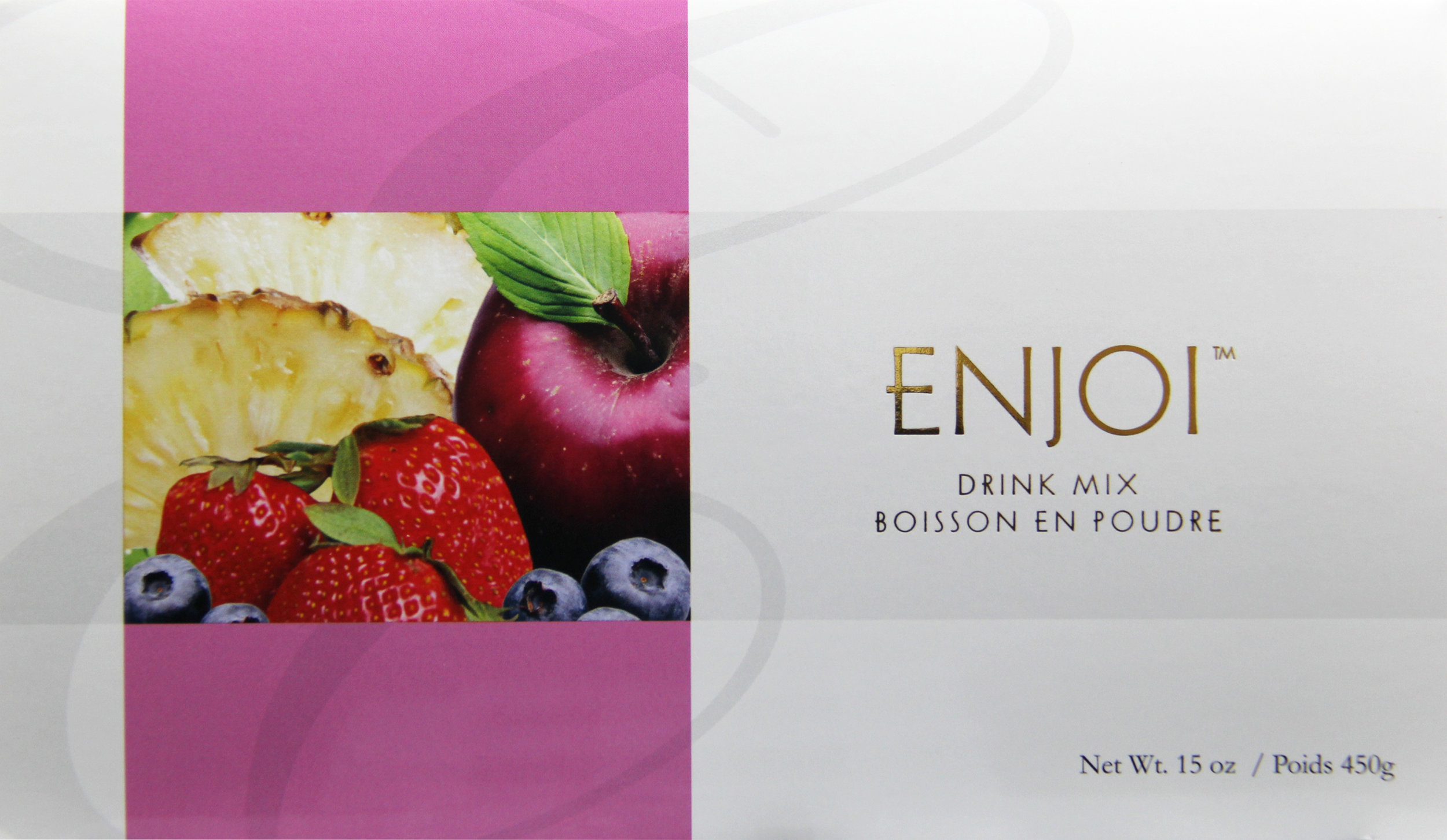 enjoi - Botanical Powdered Beverage. Great soy-free formula. Formulated with sacred lotus leaf, reishi mushroom, pearl, and barley, this delicious botanical beverage is great for those who are allergic to soy.Featured Ingredients: Rice, Apple, Blueberry, Strawberry, Pineapple, Barley, Reishi, Sacred Lotus Leaf, Pearl