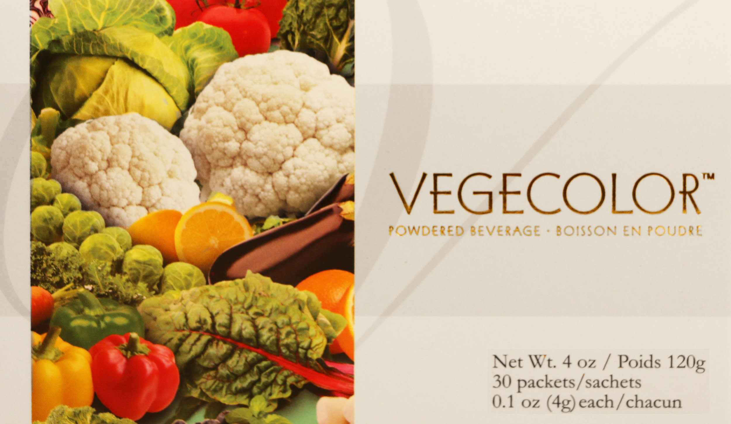 """vegecolor - A combination of 25 healthy fruits and vegetables.""""Low fat diets rich in fruits and vegetables (foods that are low in fat and may contain dietary fiber) may reduce the risk of some types of cancer, a disease associated with many factors (21 CFR 101.78).""""2 packets of Vegecolor are good source of dietary fiber.Featured Ingredients: Broccoli, Red Cabbage, Cauliflower, Spinach, Carrot, Red Beet, Mushroom, Snow Pea, Lettuce, Radish, Tangerine, Asparagus, Kale, Cabbage, Red Bell Pepper, Yellow Bell Pepper, Green Bell Pepper, Tomato, Swiss Chard, Cherry, Blueberry, Lemon Peel, Brussels Sprout, Eggplant"""